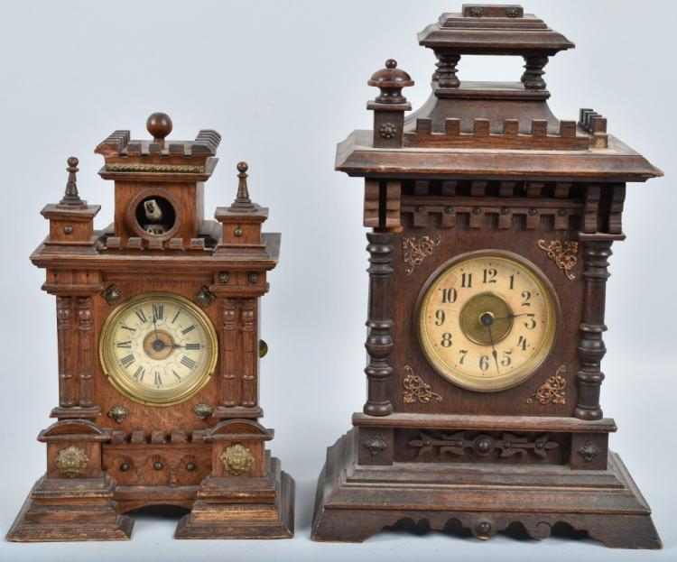 2-EARLY WOOD SHELF CLOCKS