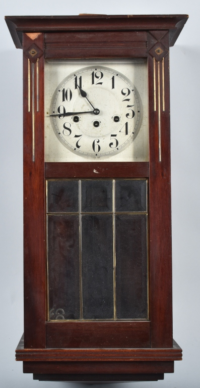 L&C WALL CLOCK, BEVELED GLASS VINTAGE