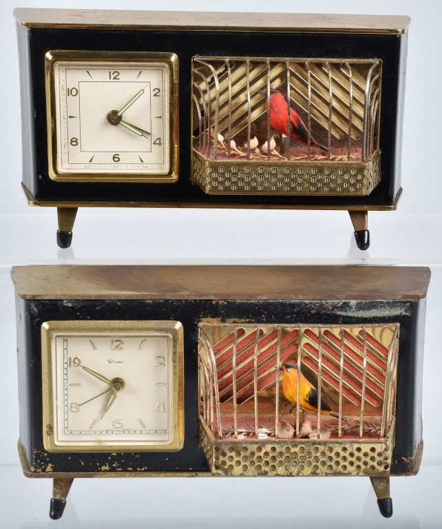 2-GERMAN SINGING BIRD ALARM CLOCKS