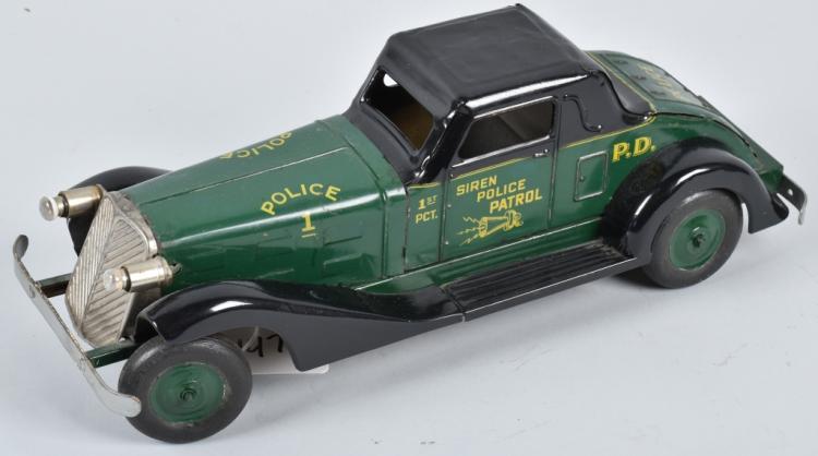 1930's MARX WINDUP SIREN POLICE PATROL