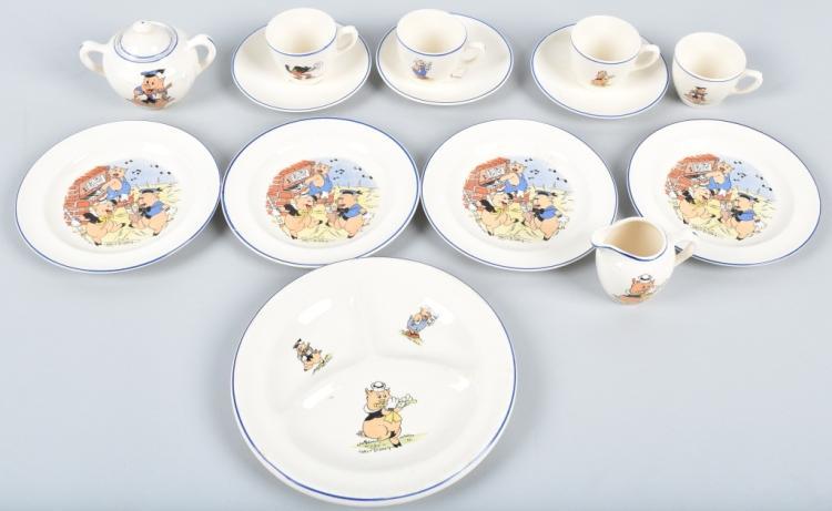 14-THREE LITTLE PIGS CHINA TEA SET, WDE