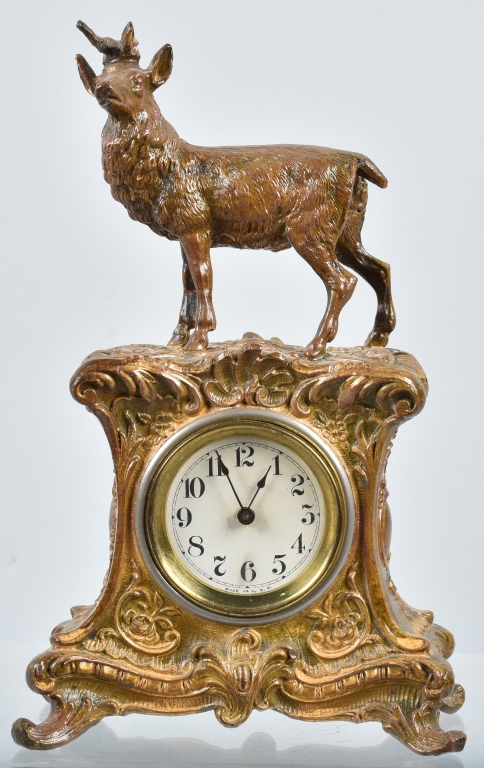 CAST METAL DEER CLOCK, VINTAGE