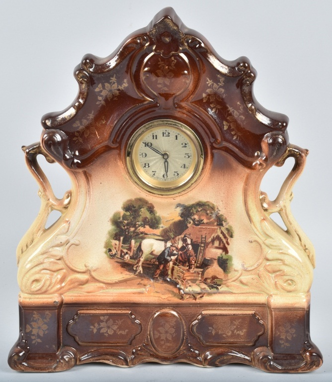GERMAN CERAMIC CLOCK, HORSE SCENES