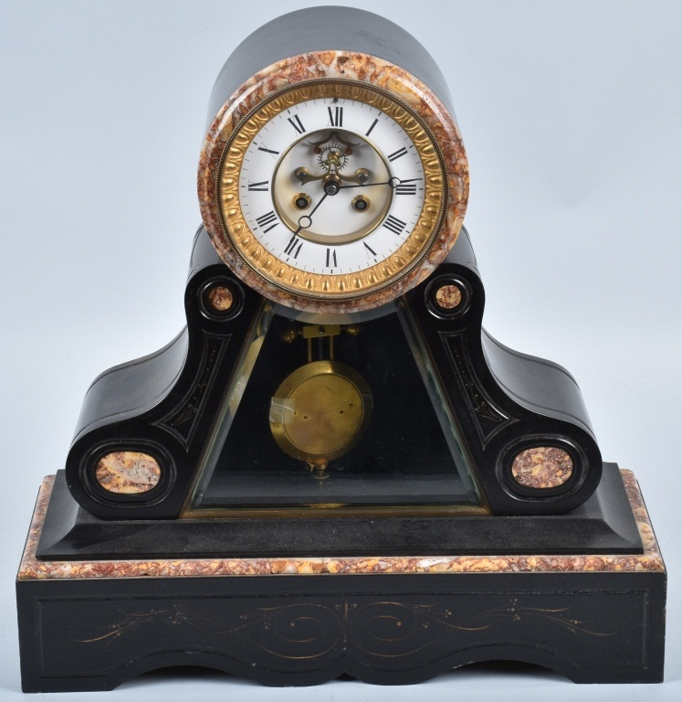 LARGE HEAVY MARBLE MANTLE CLOCK