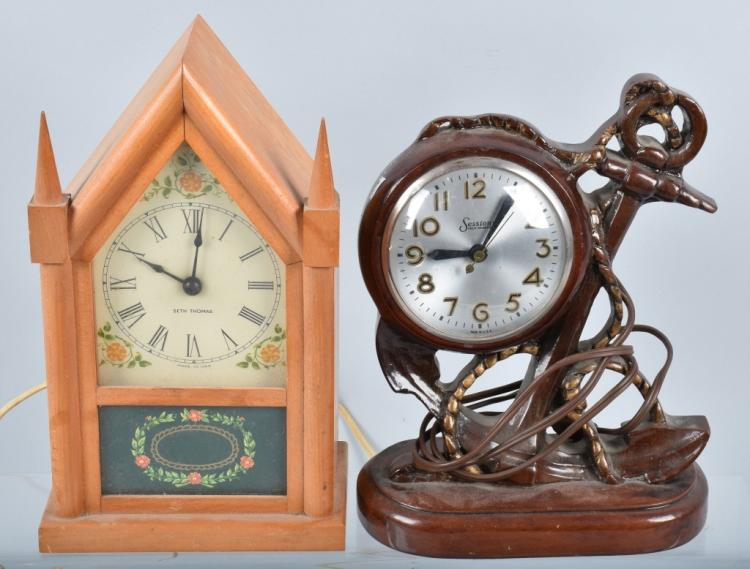 2-VINTAGE ELECTRIC CLOCKS, SETH THOMAS & SESSIONS