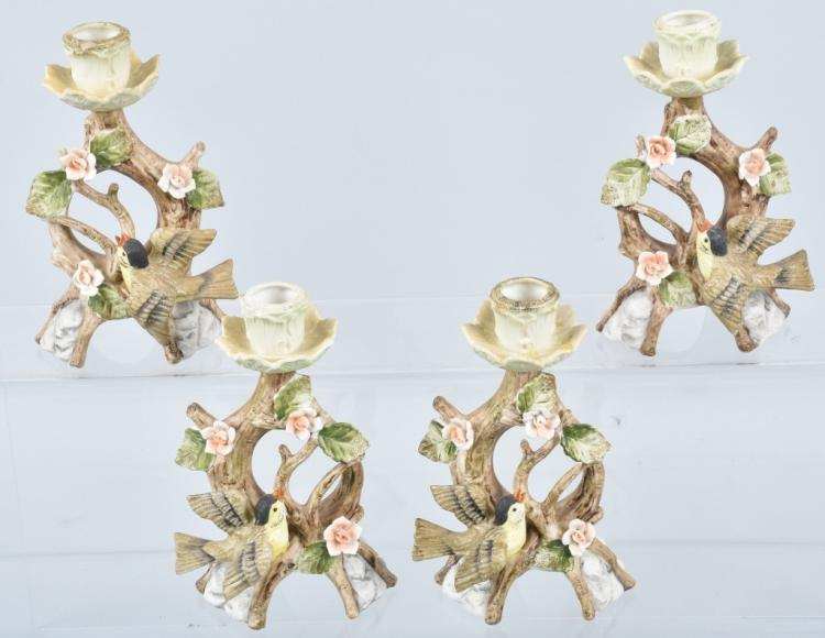 4-LENWAL CHINA BIRD FIGURAL CANDLE HOLDERS