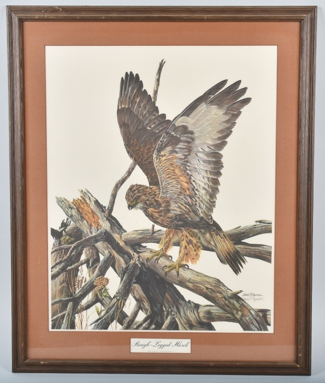 LOUIS RAYMER SIGNED ROUGH LEGGED HAWK PRINT