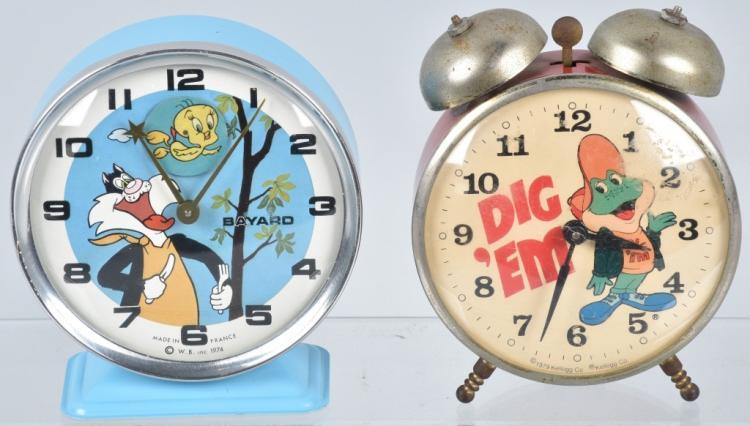 2-CHARACTER ALARM CLOCKS, SYLVESTER & DIG EM