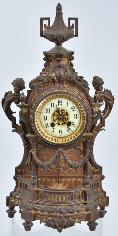 ORNATE CAST BRASS SHELF CLOCK