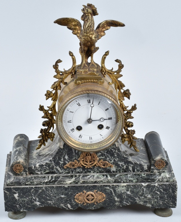 ORANTE FRENCH MANTEL CLOCK with ROOSTER