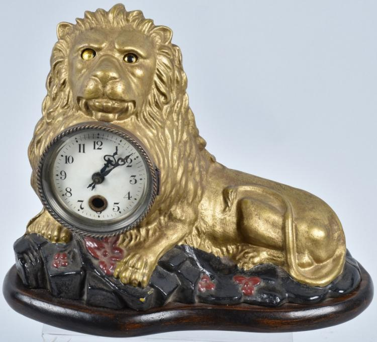 BRADLEY and HUBBARD BLINKING EYE LION CLOCK