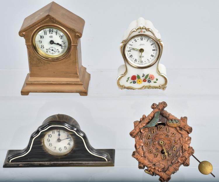4-MINIATURE CLOCKS, VINTAGE