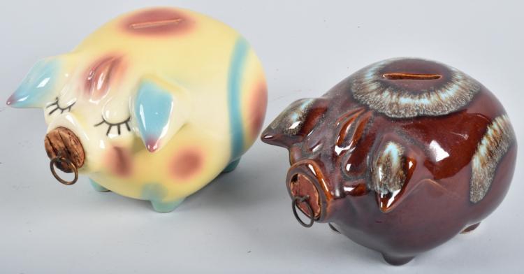 2-HULL CORKY PIG BANKS, 1957