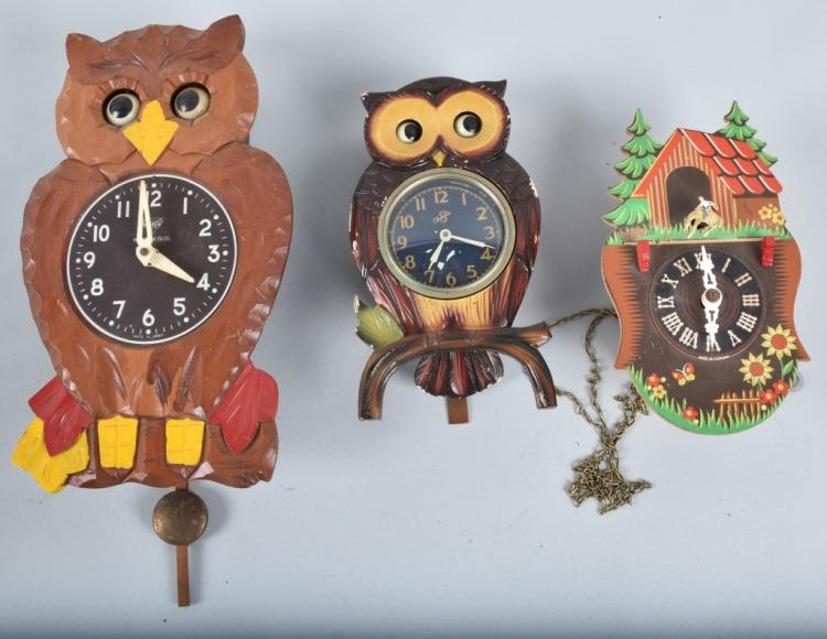 3-ANIMATED CLOCKS, OWLS and MORE