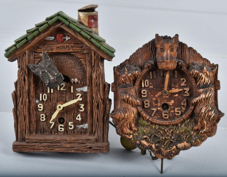2-LUX NOVELTY SCOTTIE DOG CLOCKS
