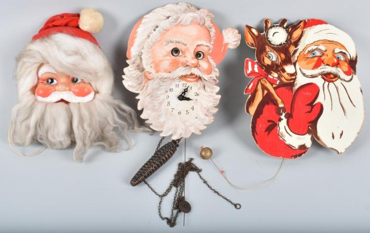 3-ANIMATED SANTAS, CLOCK, MUSIC BOX & MORE
