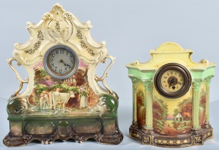 2-VINTAGE ORNATE CERAMIC CLOCKS