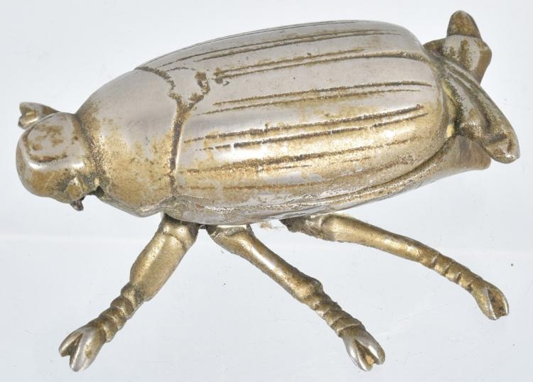 Early NICKLED CAST IRON BEETLE BUG MATCH SAFE