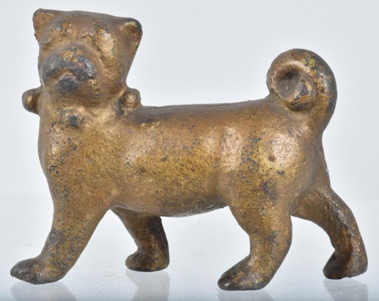 Early Painted CAST IRON PUG DOG PAPER WEIGHT