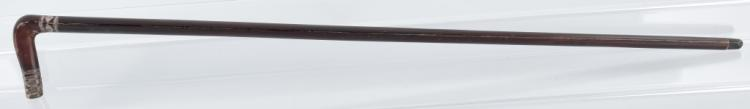 ANTIQUE WALKING STICK / CANE w/ SILVER INLAYS