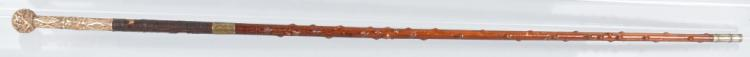 BURL WOOD WALKING STICK w/ GOLD OVERLAY TOP