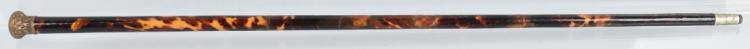 ANTIQUE TORTOISE WALKING STICK w/ GOLD OVERLAY