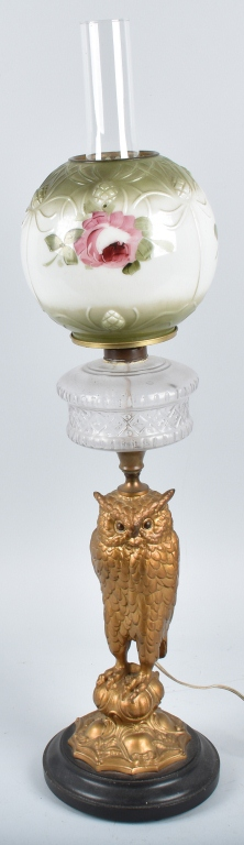 FIGURAL Cast Iron OWL OIL LAMP w/ PAINTED SHADE