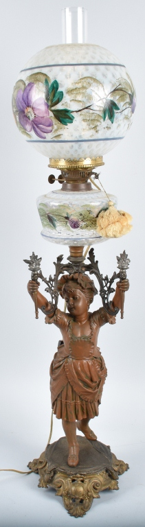 FIGURAL GIRL OIL LAMP w/ PAINTED SHADE