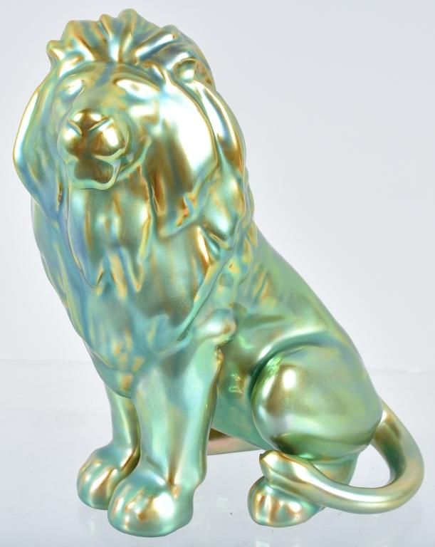 ZSOLNAY EOSIN LION FIGURINE w/ TAG