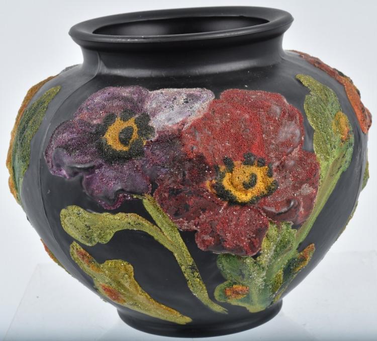 McCourt Studios Floral Coralene Black Satin Vase