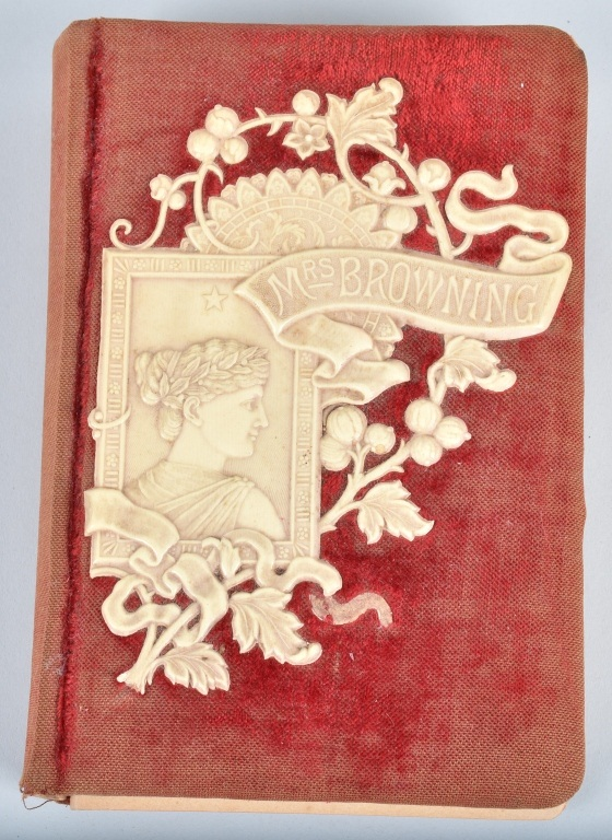 MRS BROWNING POETRY BOOK w/FELT & CELLULOID COVER