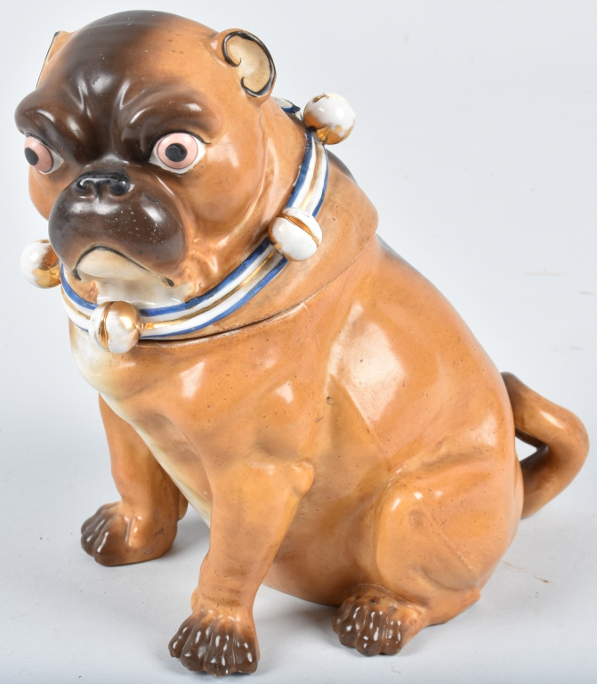 GERMAN 19TH CENTURY  PORCELAIN PUG DOG JAR