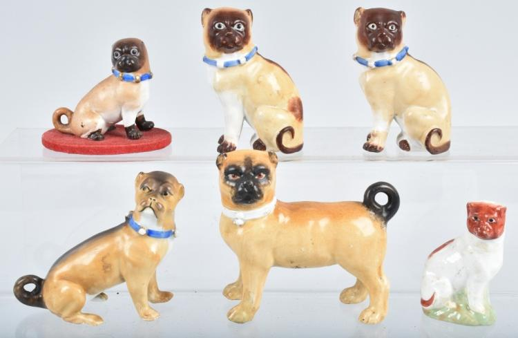 6-GERMAN 19TH CENTURY  PORCELAIN PUG DOGS