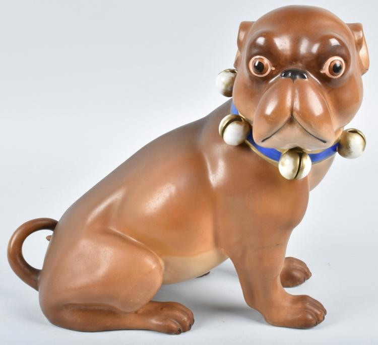 HUGE GERMAN 19TH CENTURY  PORCELAIN PUG DOG