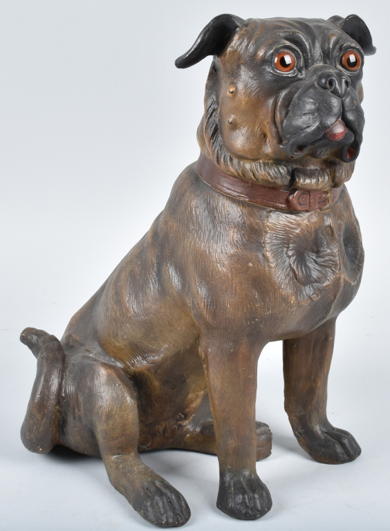 LARGE TERRA COTTA SCULPTURE, PUG DOG