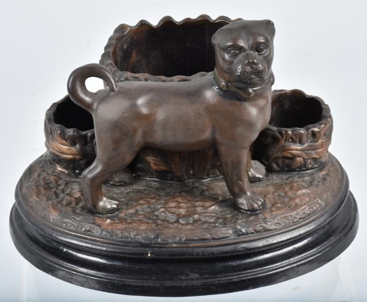 GERMAN CERAMIC PUG DOG DESK SET, VINTAGE