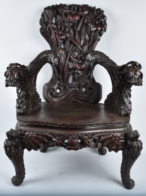 CHINESE EXPORT ORNATE CARVED ROSE WOOD ARM CHAIR