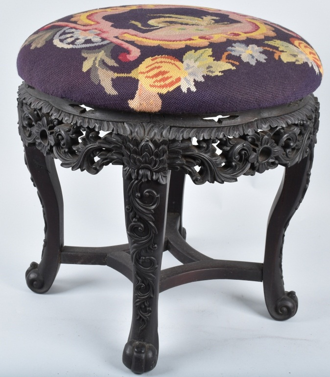 CHINESE EXPORT FOOT STOOL with NEEDLE WORK, VINTAG