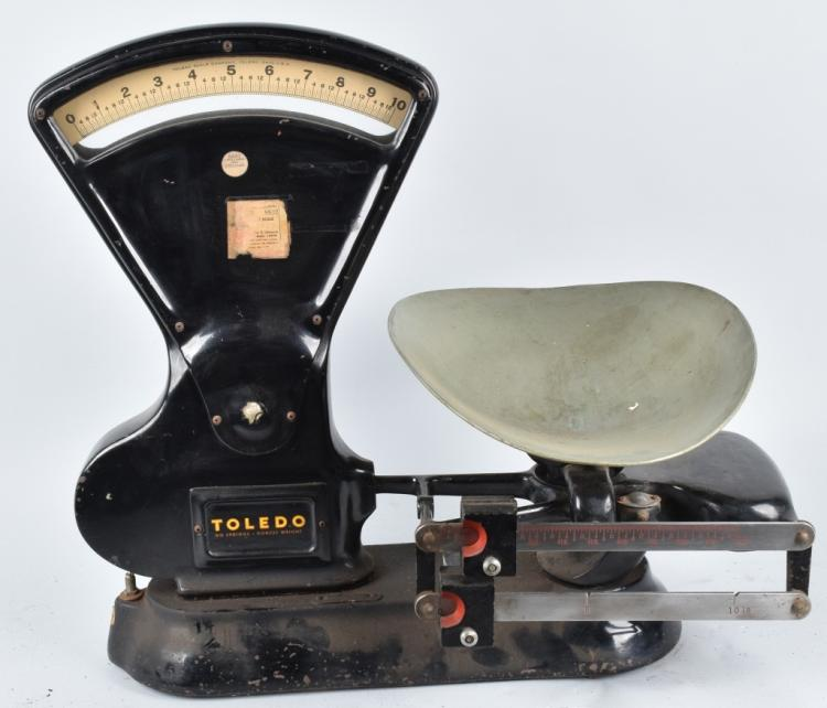 ANTIQUE 10# TOLEDO SCALE w/ PAN
