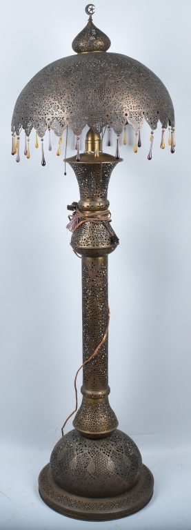 TURKISH PIERCED BRASS FLOOR LAMP, VINTAGE