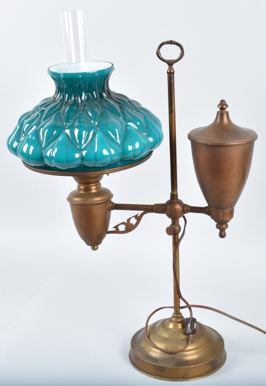 VINTAGE BRASS ELECTRIC STUDENT LAMP with SHADE
