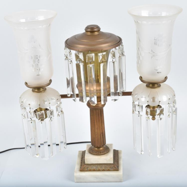 VINTAGE ORNATE ELECTRIC DOUBLE  LAMP / PRISMS