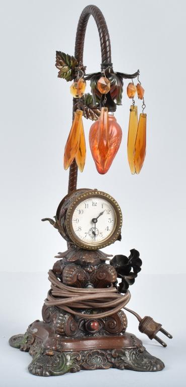 WATERBURY CAST METAL CLOCK LAMP, VINTAGE/ PRISMS