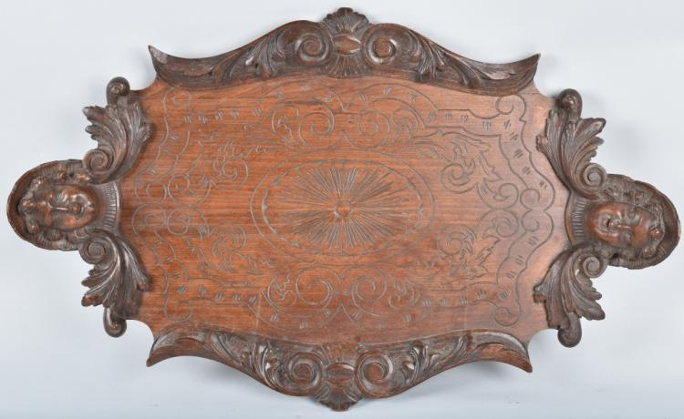 LARGE CARVED SERVING TRAY, VINTAGE