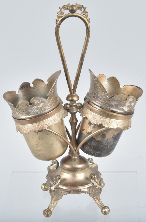 VICTORIAN SILVER PLATE DOUBLE SPOON HOLDER