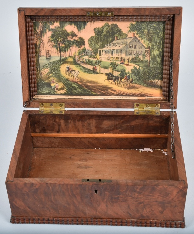 ANTIQUE BURLED BOX, with INLAY
