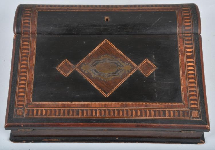 ANTIQUE INLAID LAP DESK, DATED DECEMBER 25,1871