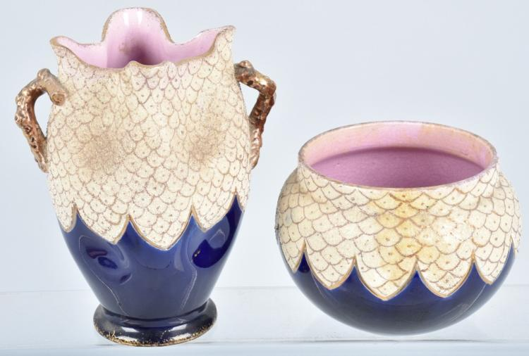 AMPHORA COBALT BLUE DRAPED VASE & BOWL