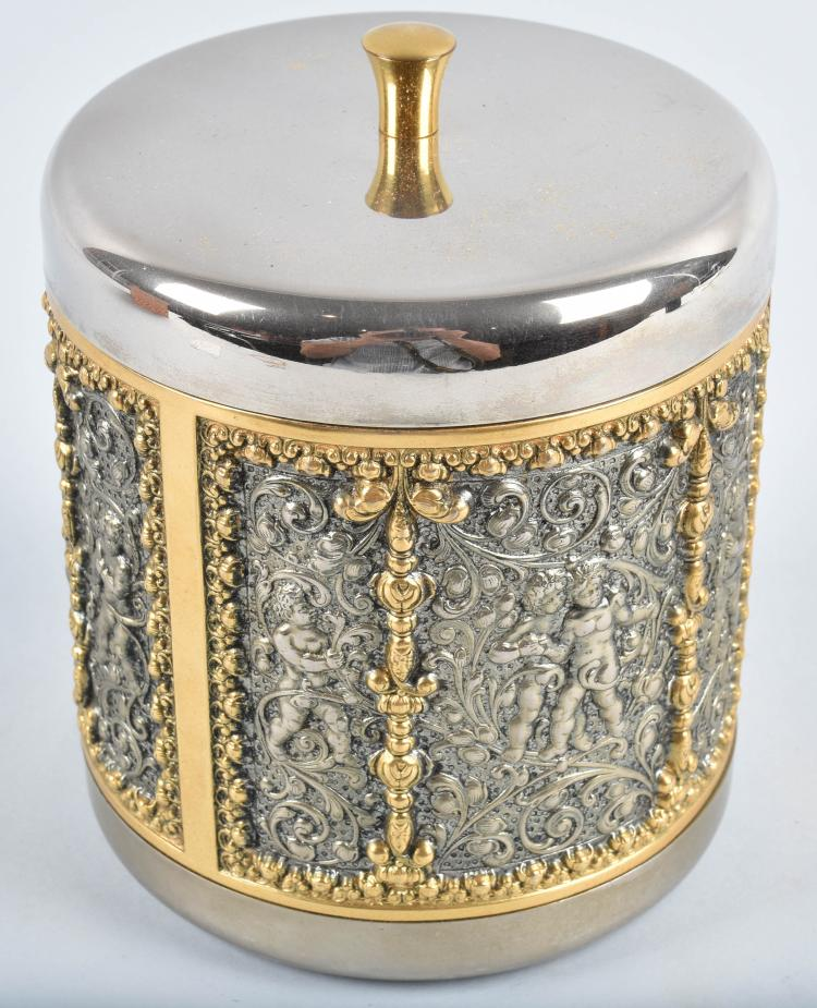 GERMAN PEWTER and BRASS HUMIDOR