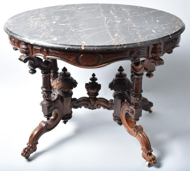 VICTORIAN ORNATE MARBLE TOP TABLE